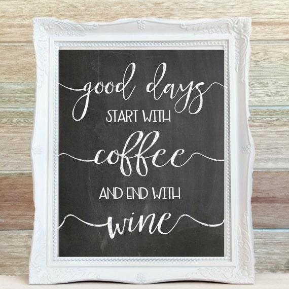 Items similar to coffee wine chalkboard art print for Wine chalkboard art