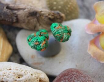 Polymer Clay Earrings, Marijuana Bud Earrings, Heart Shaped Bud Earrings, Weed Earrings, Mary Jane Earrings, 420 Earrings, Stud Earrings