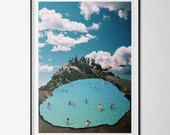 Poster / poster A3 - photo-collage surrealism - digital - photomontage - volcano - swimming - swim