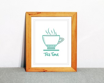 Blue tea art print, tea time, instant digital download, modern home decor, kitchen decor, tea graphic print