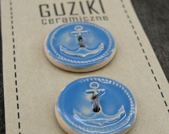 5 Anchor Buttons, Nautical Buttons, Sailing Buttons, Ceramic Buttons, Pottery Buttons, Handmade Buttons, Blue glaze Buttons