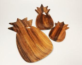 Vintage Pineapple Nesting Tray Set. Teak Wood 3 pieces. Mid Century Boho Ring Holder.