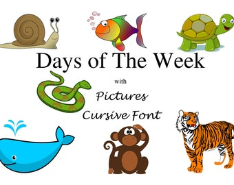 Days of The Week - Cursive Text with Pictures, Instant Download, Colourful pictures, Printable, School Supplies, Educational