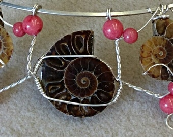 Fossil Ammonite and Jade Necklace set,