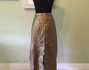 Vintage Gold Metallic Leather Skirt Large