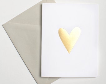 Gold Foil Heart Notecard