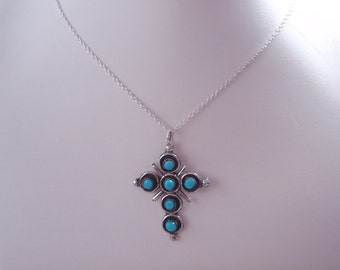Sterling Silver Zuni Turquoise Cross Pendant w/Chain RP39