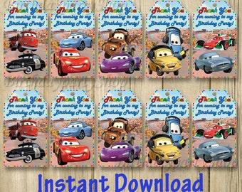 Disney Cars Favor Tag, Instant Download, Digital File