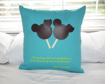 Growing old is mandatory, but growing up is optional Throw Pillow