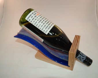 Blue Bacon-Striped Wine Holder