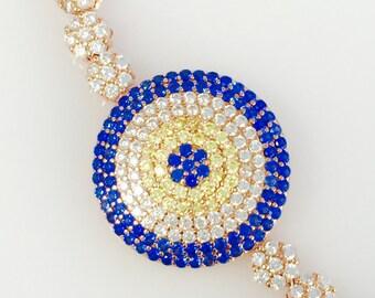 evil eye tennis pull bracelet Rose gold over silver