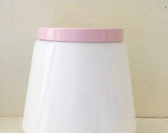 Vintage Milk Glass Cold Cream Jar With Pink Lid