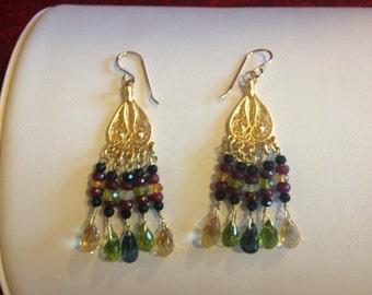Bali Style Semi Precious Gemstones, Chandelier Earrings