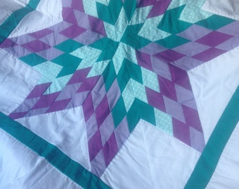 Purple and Teal Starburst Queen sized Quilt