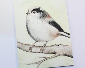 Original ACEO Card, Long Tailed Tit, Bird Drawing, Watercolor Painting, Aegithalos caudatus, Nature Art, Wildlife ATC, Hand Drawn ACEO