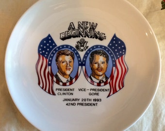Vintage-1993-President-Bill-Clinton-Al-Gore-Decorative Plate- rare collectable