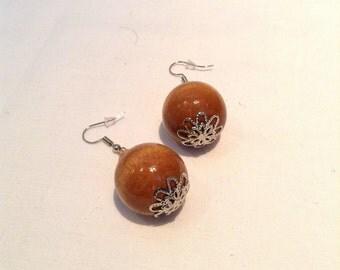 Wooden Jewelled Earrings