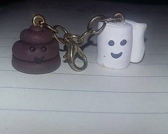 Toilet Paper and Poo Polymer Clay Charm
