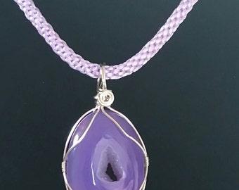 Agate Druzy pendant Necklace/kumuhimo style braid/handmade jewellery