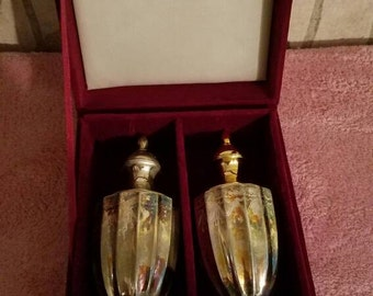 Silver Treasures by Godinger Silver and Gold Salt and Pepper Shakers with case