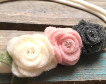 Flower Trio- Felt Flower Baby Headband- Gray, Pink, Ivory on Nylon- all orders can be customized!!