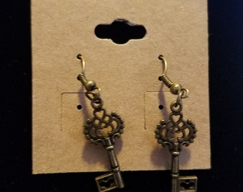 Brass skeleton key earrings