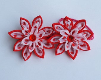Simple but yet amazing look for your little one/ красный и белый kanzashi flowers/Fabric flowers