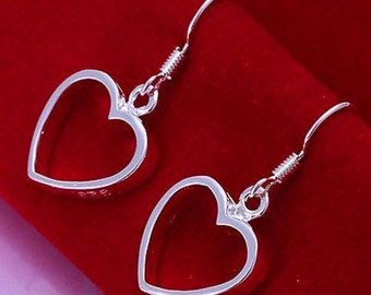 Heart Shaped Earrings 925 Sterling Silver