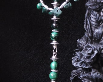 Witch in malachite necklace