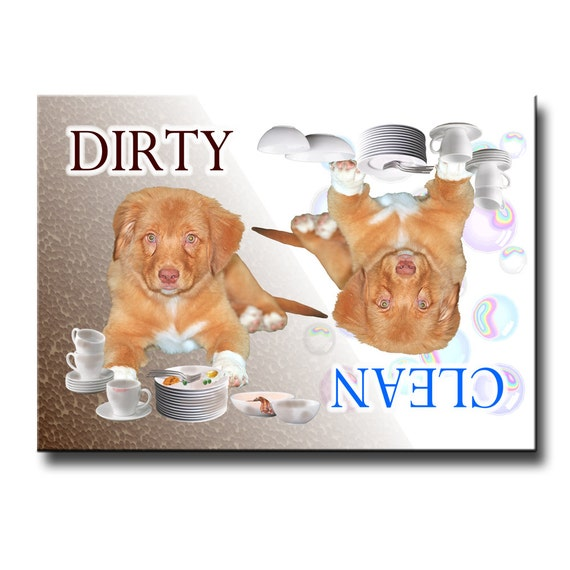 Nova Scotia Duck Toller Clean Dirty Dishwasher Magnet No 2 Puppy