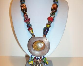 Tribal Art Glass Chunky Necklace
