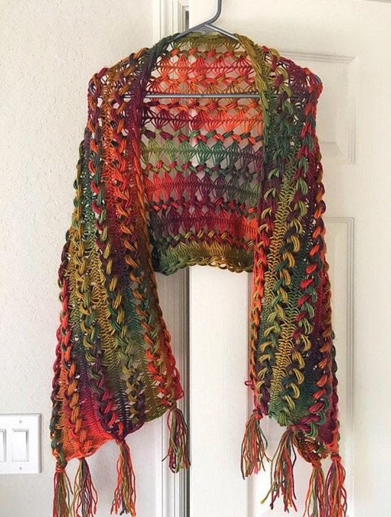 Sunrise Shawl Hairpin Lace Crochet Pattern