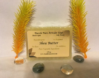 Shea Butter Soap Bar 3.75 oz - All Natural, Hand-crafted, 100% Vegetable-Based, Unscented, Hypoallergenic
