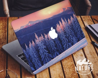 Macbook Air decal snowy mountain Macbook Pro skin with frozen trees and hills Macbook Air sticker cover mountain panorama in winter -NI008