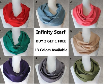 SALE!!! Pashmina Infinity Scarf, Fall nfinity Scarf, Winter Infinity Scarf, Fashion Assessories, Solid Color Scarf, Lightweight Scarf