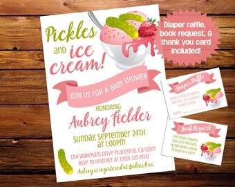 Pickles And Ice Cream Baby Shower Invite Sprinkle Invitation 5x7 Cravings Pink Girl Personalized