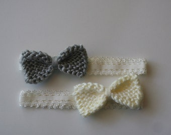 Set of two baby bow stretchy headbands in silvery gray and cream