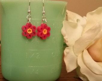 Flower Perler Bead Dangle Earrings, Mini Hama Bead