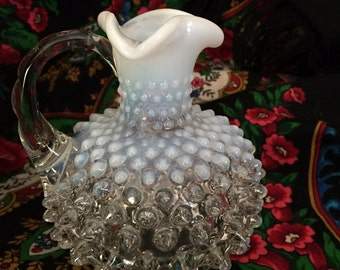 White Glass Cruet, Fenton Hobnail Opalescent Flawless