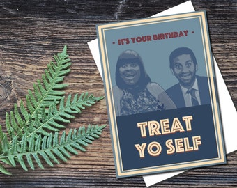 Instant download, Parks and Recreation birthday card, Treat yoself birthday card, Funny birthday card, printable card