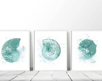 Wonderful Set Of 3 Nautical, Prints Of Nautical, Turquoise Shells, DIY Wall Art,