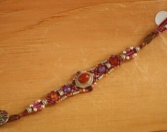Carnelian, Amethyst and Sterling Silver Bracelet by Isha Elafi