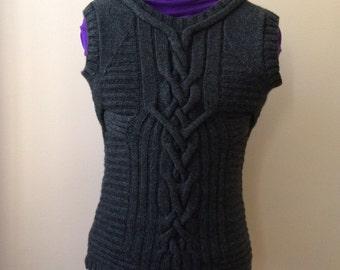 Vest, Hand Knit, 100% Cashemir, Charcoal Color, Size XS