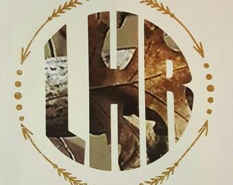 Gold and Camo Arrow Monogram