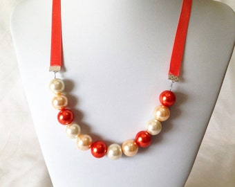 Salmon Ribbon Pearl Necklace