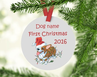 Custom Corgi Christmas ornament, Corgi Ornament, Corgi First Christmas Ornament, Corgi Gifts, Corgi Owner Gifts, Corgi Lover Gift