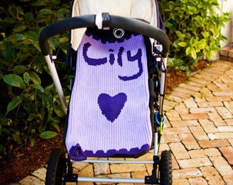 Heart Scalloped Personalized Stroller Blanket