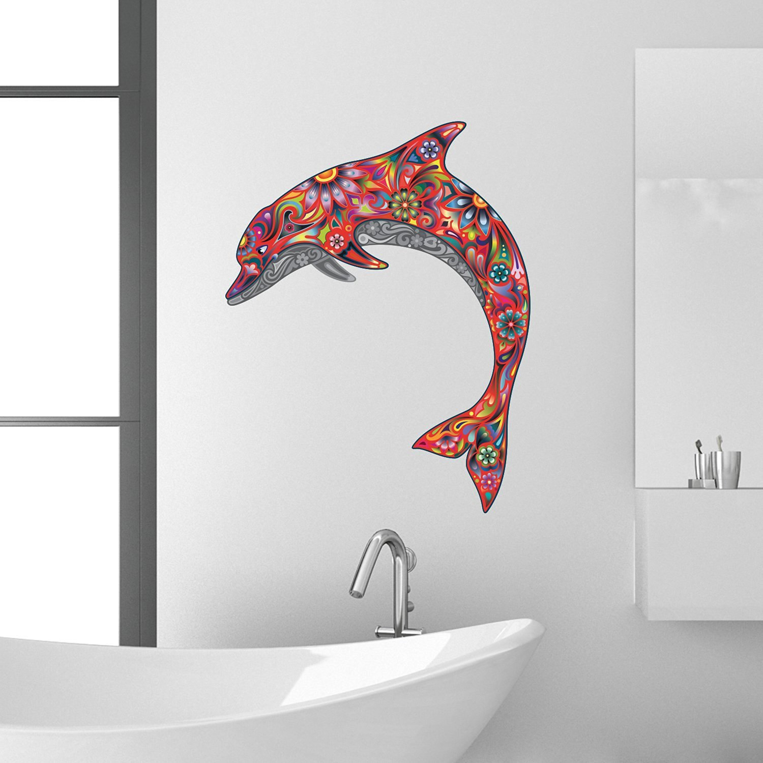Beautiful red dolphin wall decal sticker mural statement decor beautiful red dolphin wall decal sticker mural statement decor item ideal for any room amipublicfo Image collections