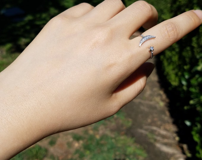 Silver Alloy Moon Ring/Nickel Free/Free Size