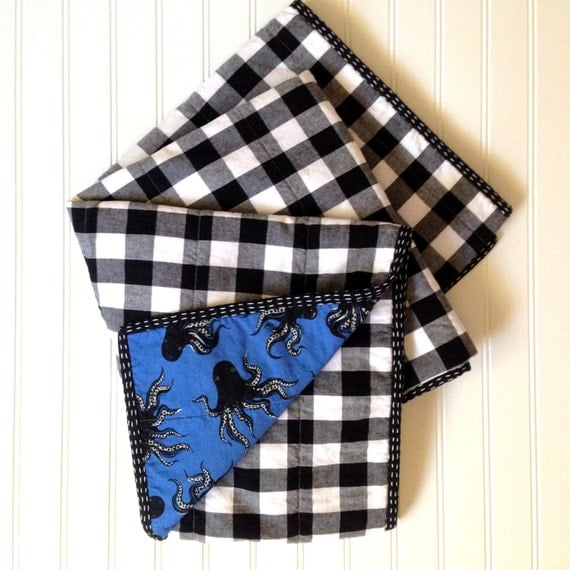 Plaid Baby Quilt: Modern Black And White Gingham Plaid Baby Quilt You Choose